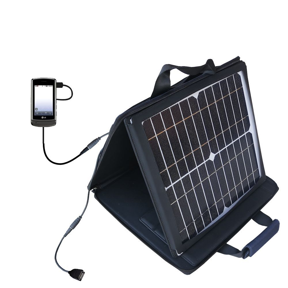 SunVolt Solar Charger compatible with the LG UX830 UX840 and one other device - charge from sun at wall outlet-like speed