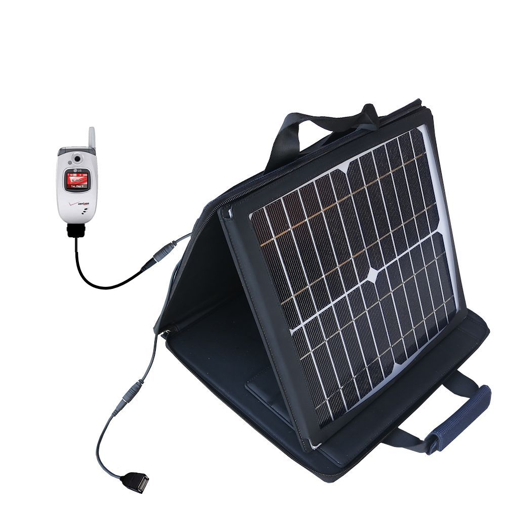 SunVolt Solar Charger compatible with the LG VX5300 / VX-5300 and one other device - charge from sun at wall outlet-like speed