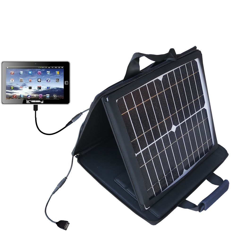 SunVolt Solar Charger compatible with the Linsay Cosmos F-7HD F-10HD and one other device - charge from sun at wall outlet-like speed
