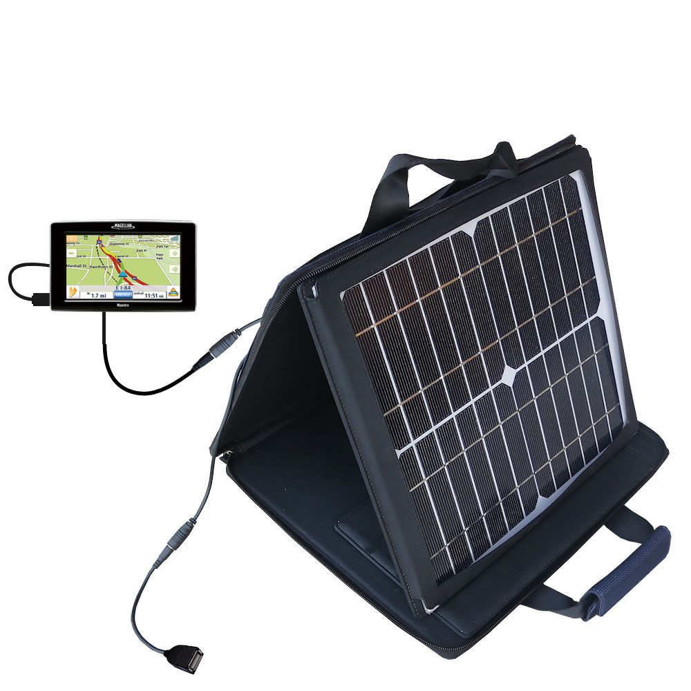 SunVolt Solar Charger compatible with the Magellan Maestro 3200 and one other device - charge from sun at wall outlet-like speed