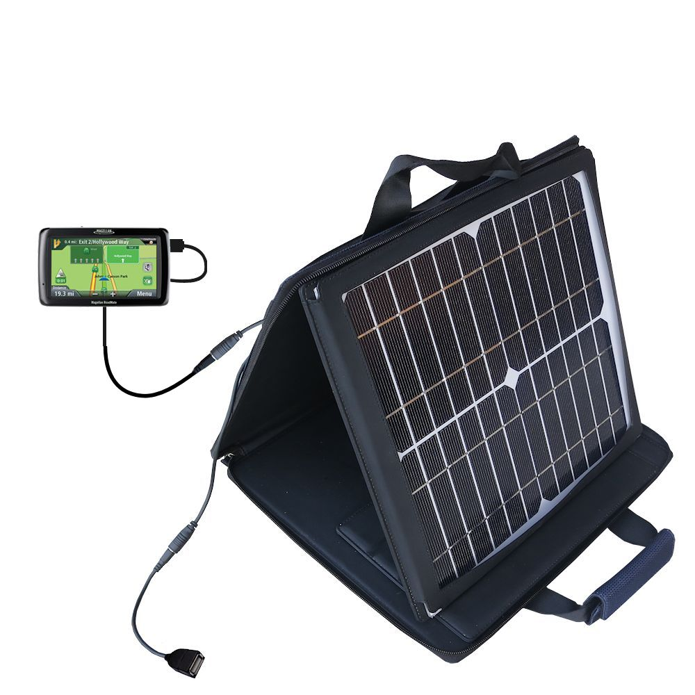 SunVolt Solar Charger compatible with the Magellan Maestro 4250 and one other device - charge from sun at wall outlet-like speed
