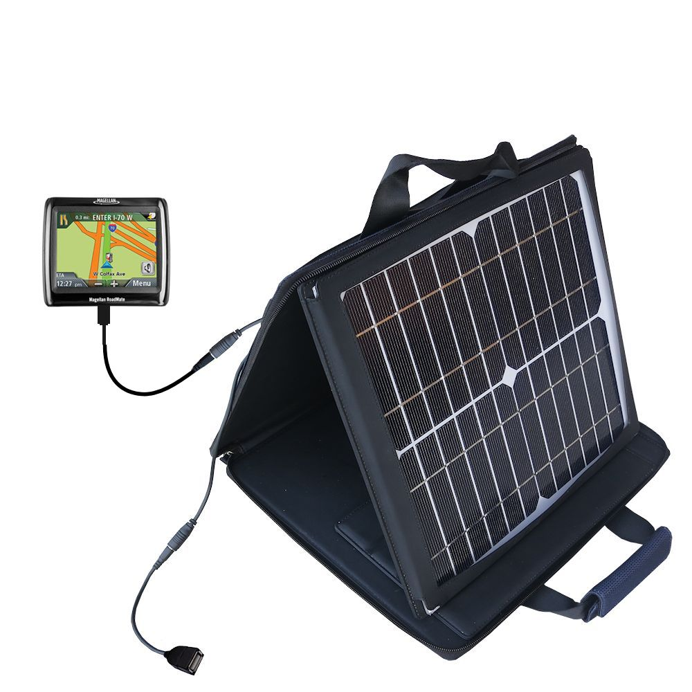 SunVolt Solar Charger compatible with the Magellan Roadmate 1210 and one other device - charge from sun at wall outlet-like speed