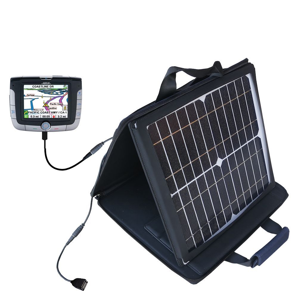 SunVolt Solar Charger compatible with the Magellan Roadmate 3000T and one other device - charge from sun at wall outlet-like speed