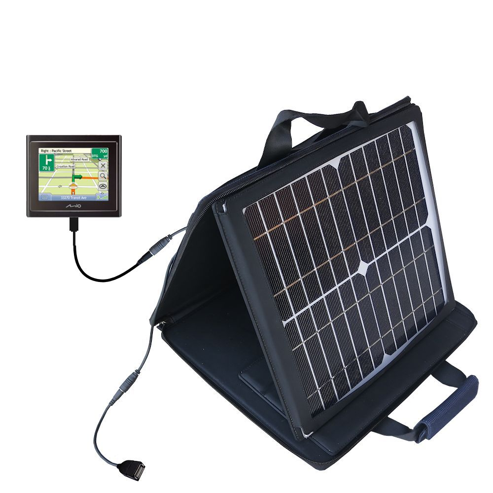 SunVolt Solar Charger compatible with the Mio Moov 200 210 and one other device - charge from sun at wall outlet-like speed
