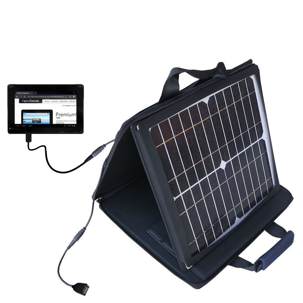 SunVolt Solar Charger compatible with the Nextbook Premium 7SE Next7P12 and one other device - charge from sun at wall outlet-like speed