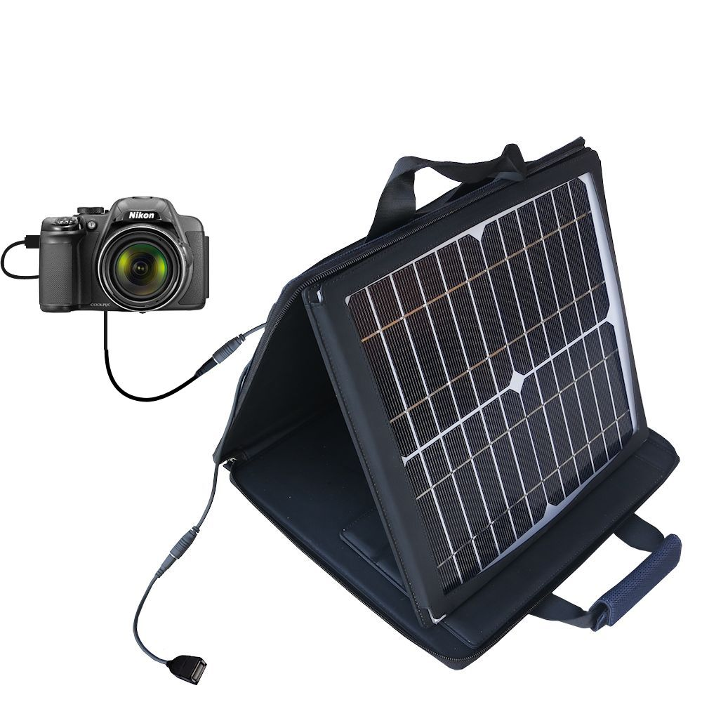 Gomadic SunVolt High Output Portable Solar Power Station designed for the Nikon Coolpix P510 / P520 - Can charge multiple devices with outlet speeds