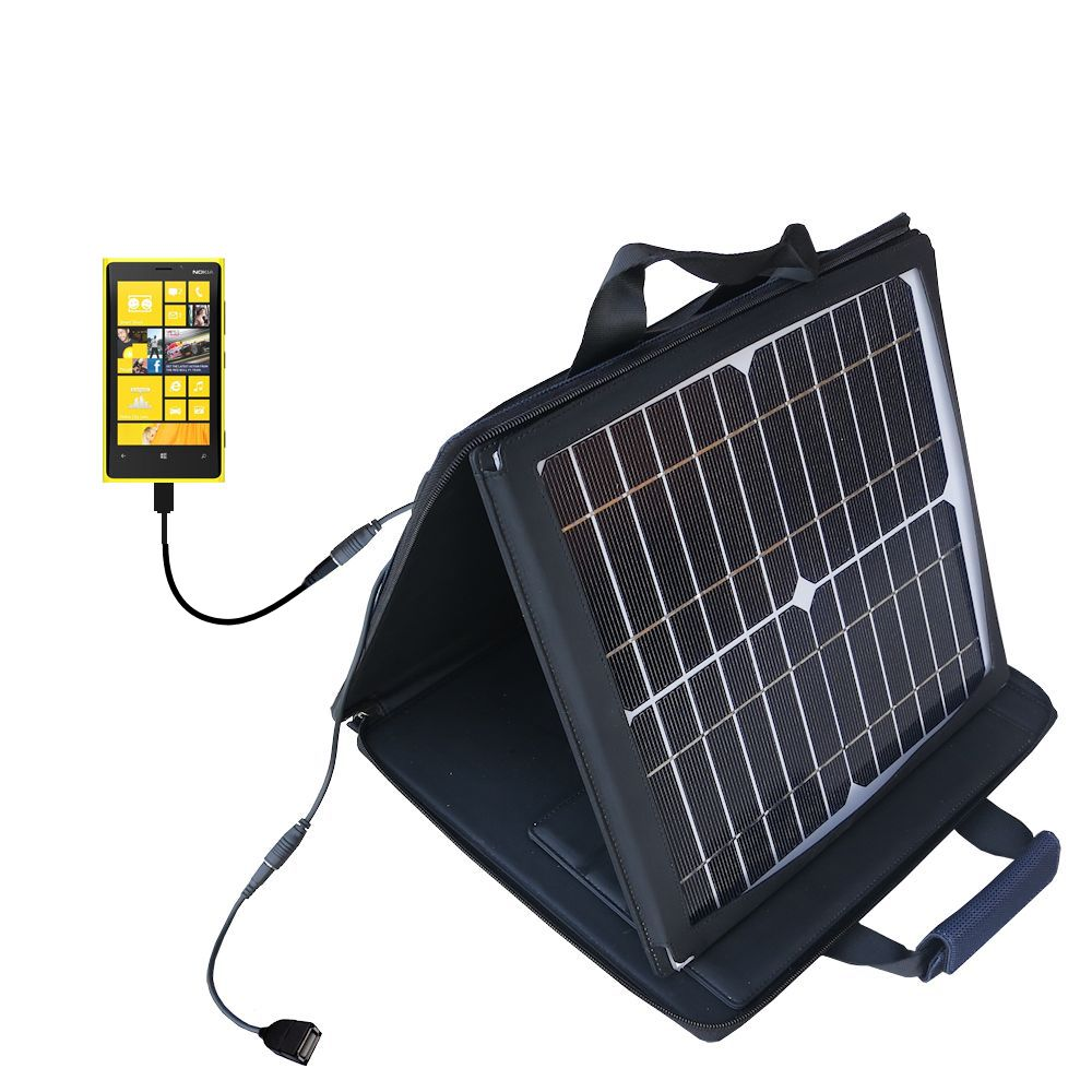 SunVolt Solar Charger compatible with the Nokia Lumia 920 and one other device - charge from sun at wall outlet-like speed