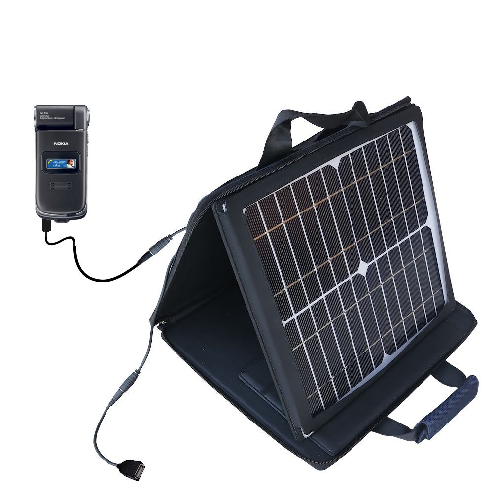SunVolt Solar Charger compatible with the Nokia N90 N93 N95 and one other device - charge from sun at wall outlet-like speed