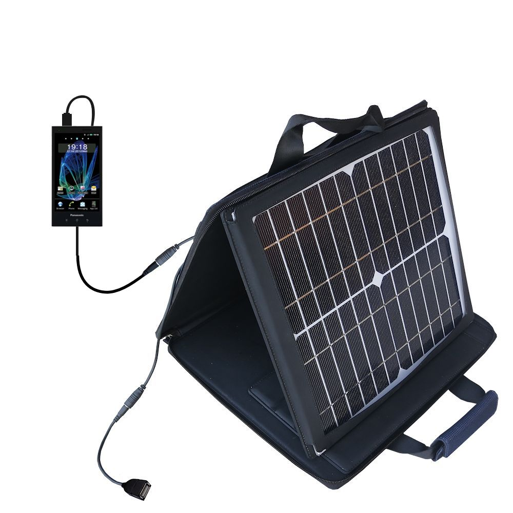 SunVolt Solar Charger compatible with the Panasonic Eluga / dL1 and one other device - charge from sun at wall outlet-like speed