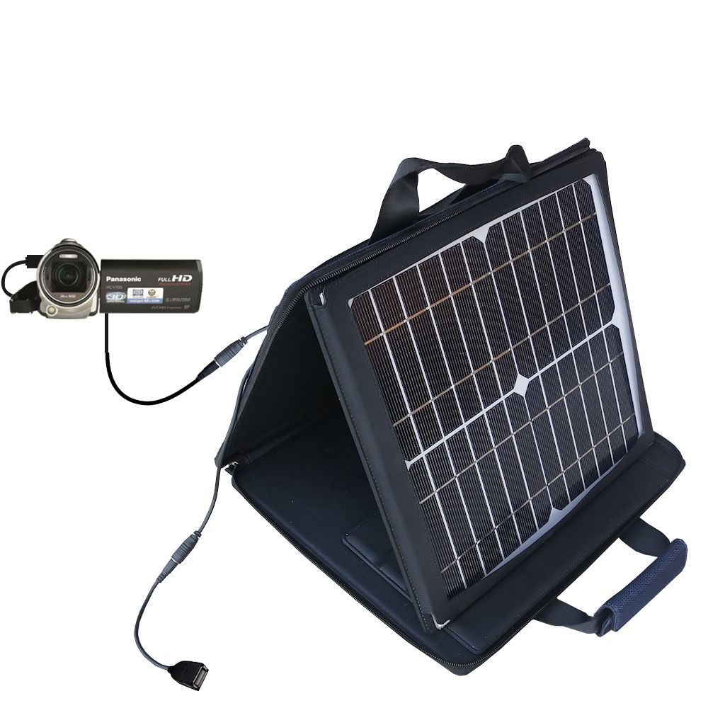SunVolt Solar Charger compatible with the Panasonic HC-V700 and one other device - charge from sun at wall outlet-like speed