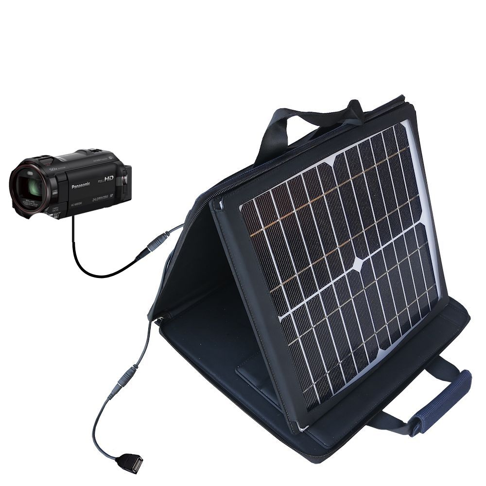 SunVolt Solar Charger compatible with the Panasonic HC-W850 / W850 and one other device - charge from sun at wall outlet-like speed