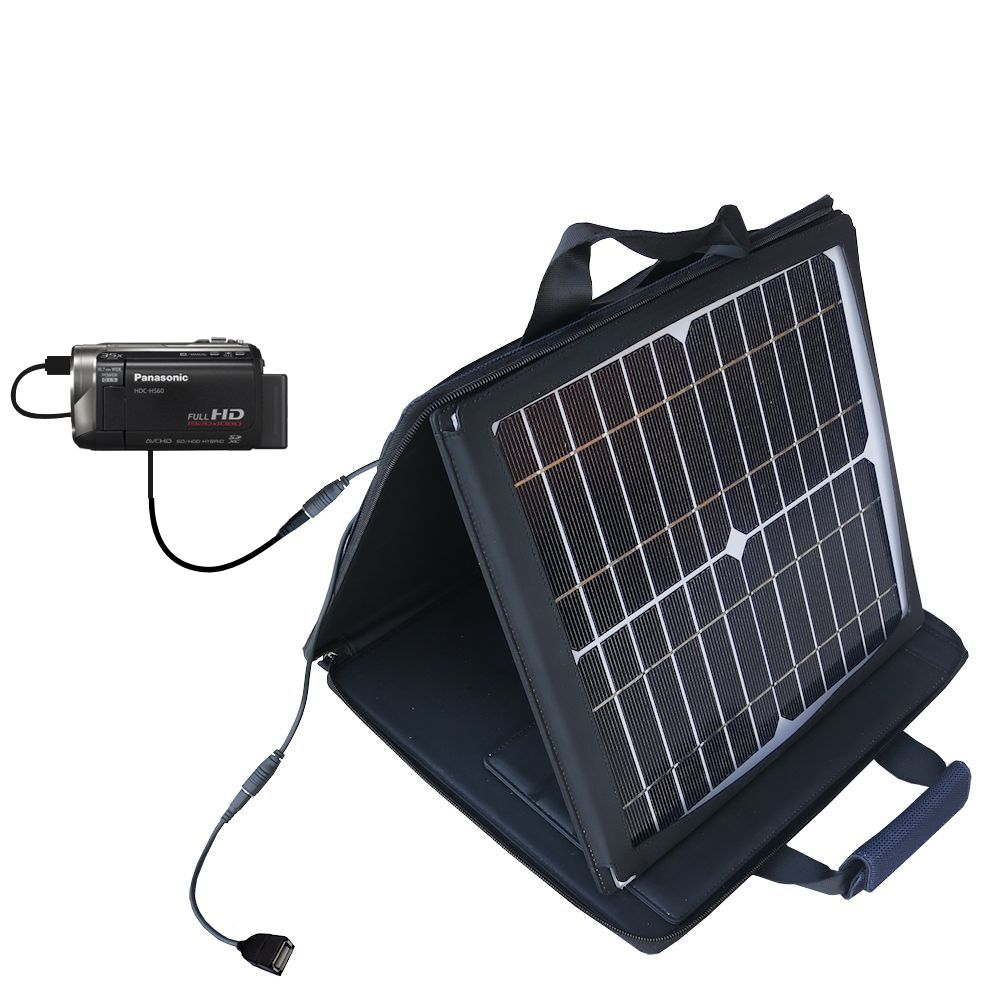SunVolt Solar Charger compatible with the Panasonic HDC-HS60 Video Camera and one other device - charge from sun at wall outlet-like speed