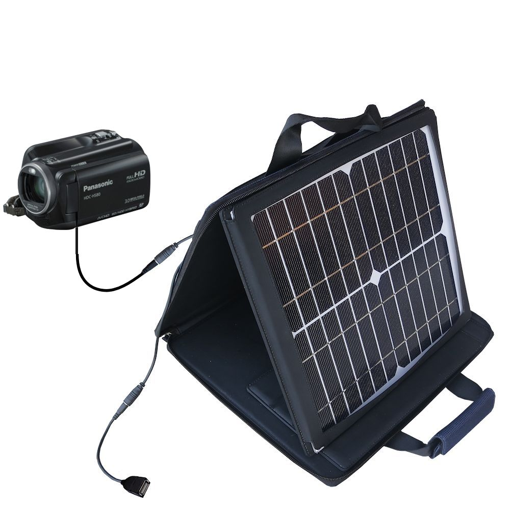 SunVolt Solar Charger compatible with the Panasonic HDC-HS80 Camcorder and one other device - charge from sun at wall outlet-like speed