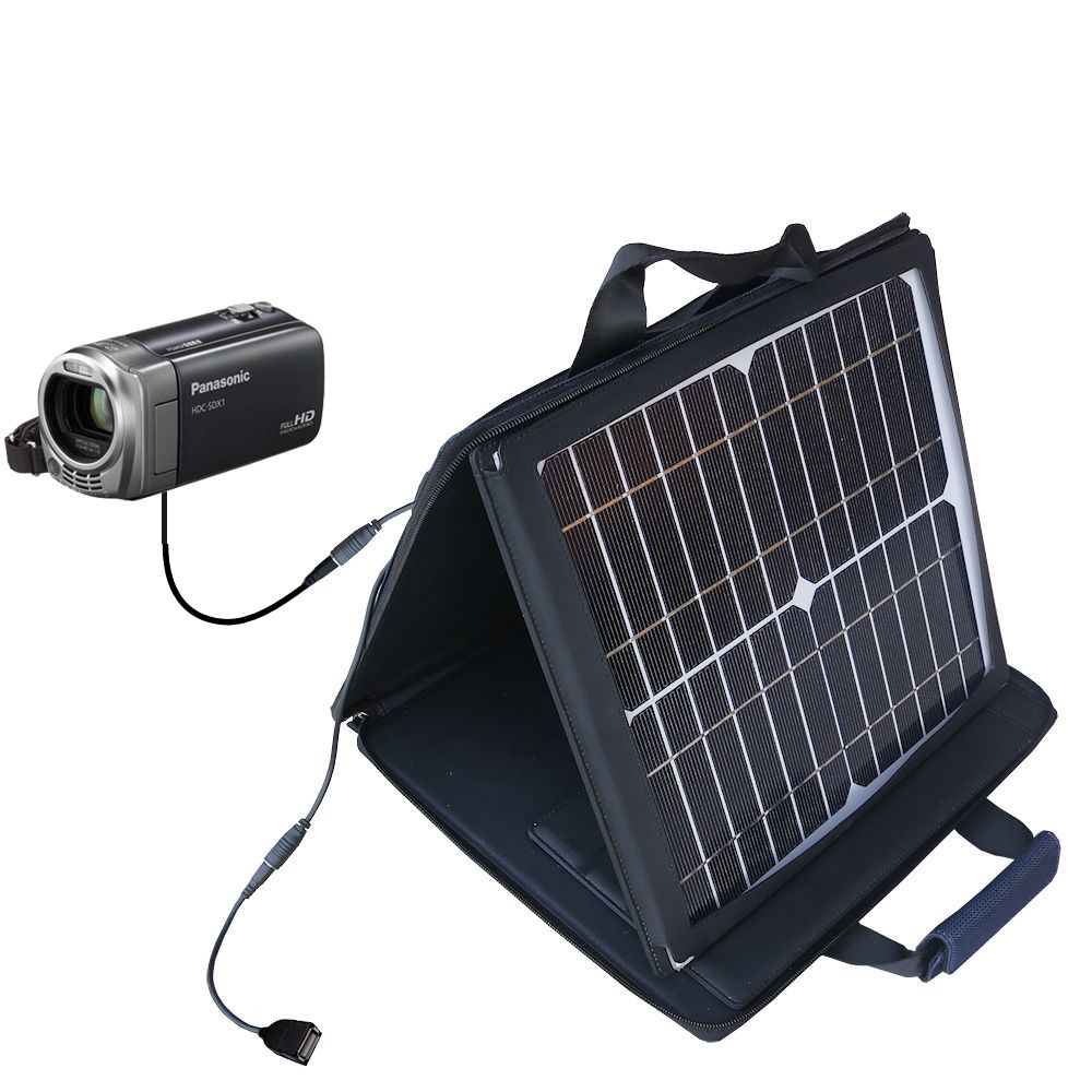 SunVolt Solar Charger compatible with the Panasonic HDC-SDX1H HD Camcorder and one other device - charge from sun at wall outlet-like speed