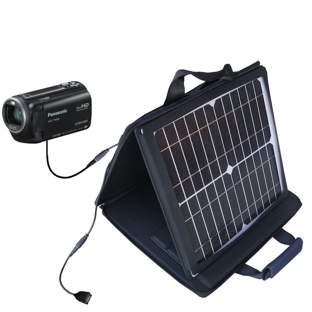 SunVolt Solar Charger compatible with the Panasonic HDC-TM80 Camcorder and one other device - charge from sun at wall outlet-like speed