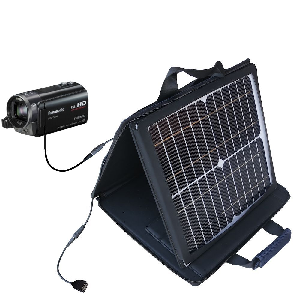 SunVolt Solar Charger compatible with the Panasonic HDC-TM90 Camcorder and one other device - charge from sun at wall outlet-like speed
