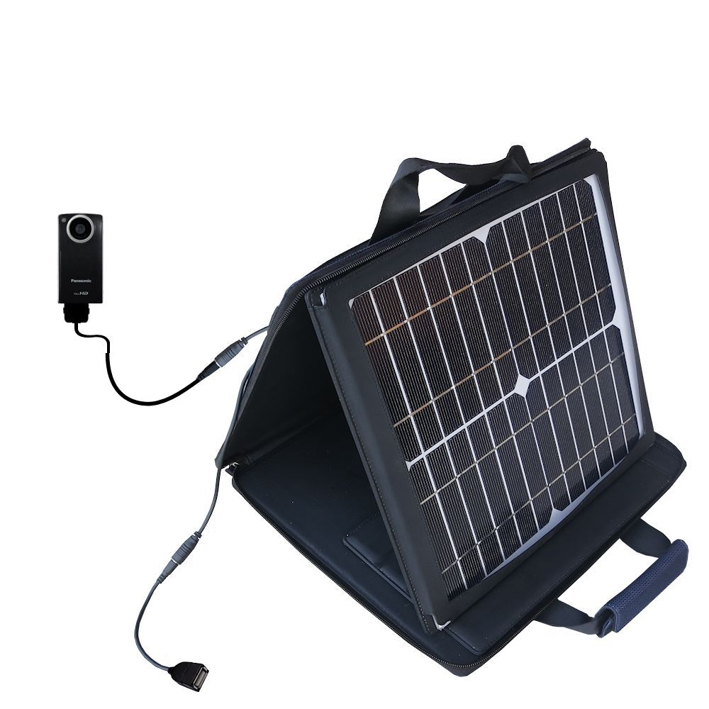 SunVolt Solar Charger compatible with the Panasonic HM-TA1V Digital HD Camcorder and one other device - charge from sun at wall outlet-like speed