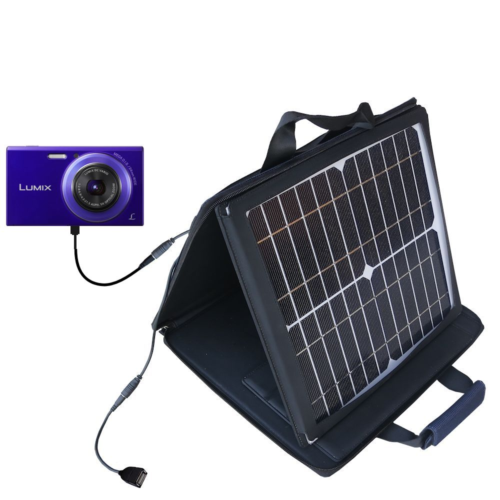 SunVolt Solar Charger compatible with the Panasonic Lumix DMC-FH10V and one other device - charge from sun at wall outlet-like speed