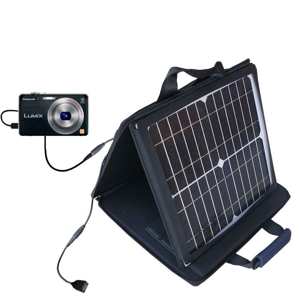 SunVolt Solar Charger compatible with the Panasonic Lumix DMC-FH8K and one other device - charge from sun at wall outlet-like speed