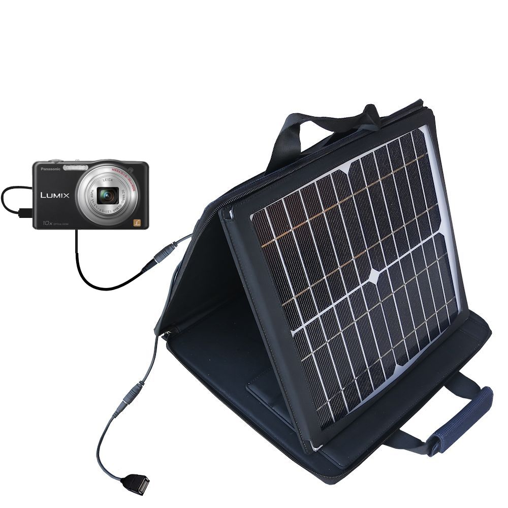 SunVolt Solar Charger compatible with the Panasonic Lumix DMC-SZ1K and one other device - charge from sun at wall outlet-like speed