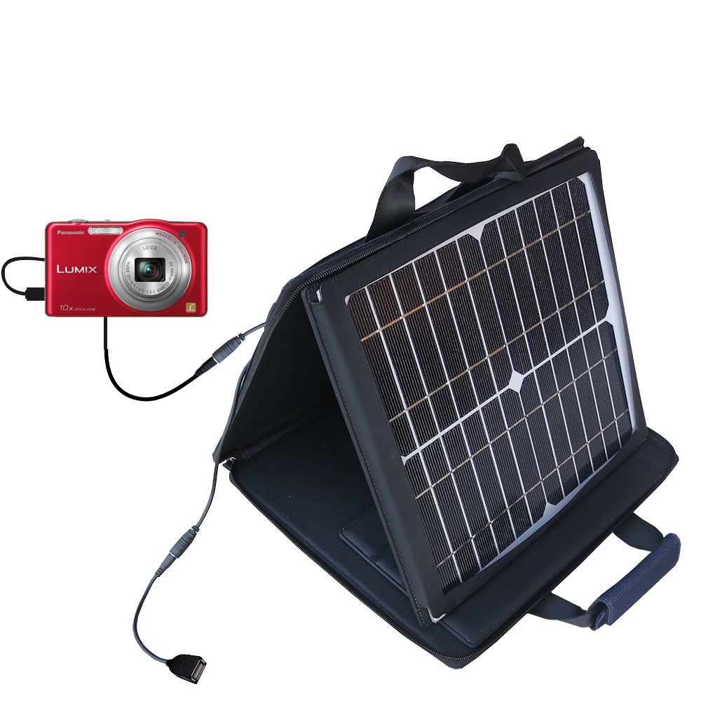 SunVolt Solar Charger compatible with the Panasonic Lumix DMC-SZ1R and one other device - charge from sun at wall outlet-like speed