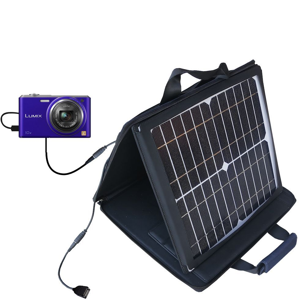 SunVolt Solar Charger compatible with the Panasonic Lumix DMC-SZ3V and one other device - charge from sun at wall outlet-like speed