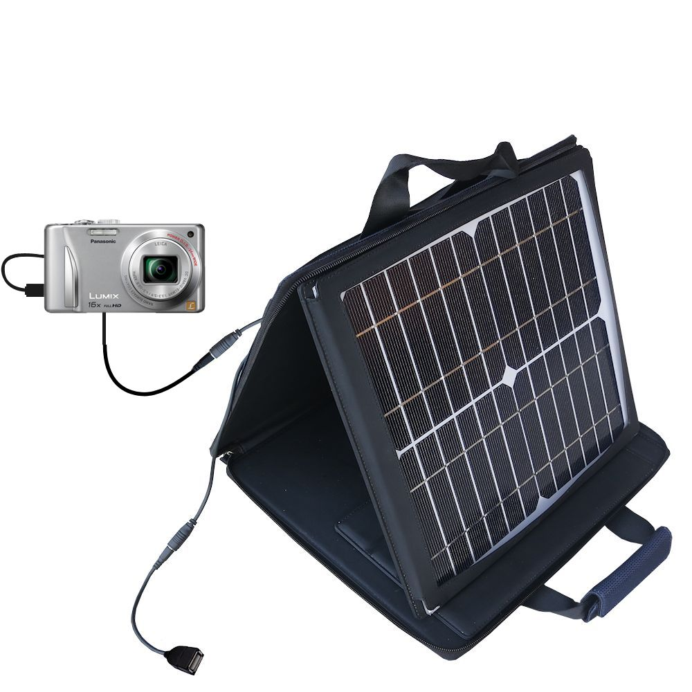SunVolt Solar Charger compatible with the Panasonic Lumix DMC-ZS15S and one other device - charge from sun at wall outlet-like speed