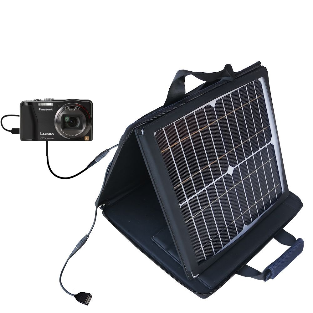 SunVolt Solar Charger compatible with the Panasonic Lumix DMC-ZS20W and one other device - charge from sun at wall outlet-like speed