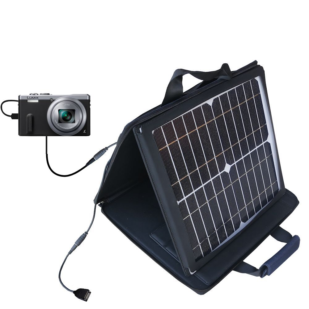 SunVolt Solar Charger compatible with the Panasonic Lumix DMC-ZS40 and one other device - charge from sun at wall outlet-like speed