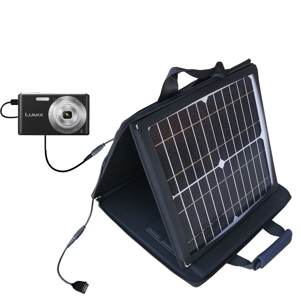 SunVolt Solar Charger compatible with the Panasonic Lumix F5 / DMC-F5 and one other device - charge from sun at wall outlet-like speed