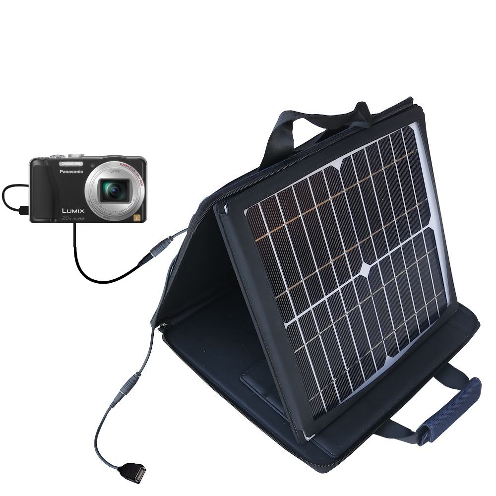 SunVolt Solar Charger compatible with the Panasonic Lumix ZS19 / ZS20 and one other device - charge from sun at wall outlet-like speed