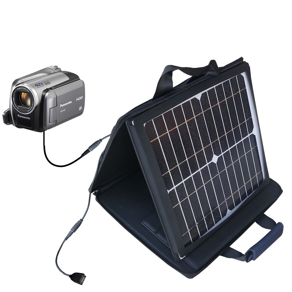SunVolt Solar Charger compatible with the Panasonic SDR-570 Camcorder and one other device - charge from sun at wall outlet-like speed