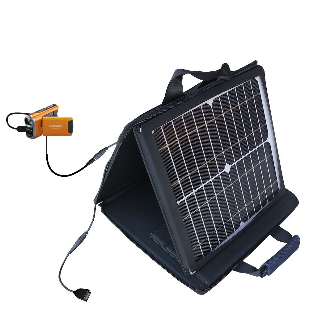 SunVolt Solar Charger compatible with the Panasonic SDR-SW21 Video Camera and one other device - charge from sun at wall outlet-like speed