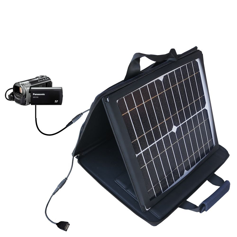 SunVolt Solar Charger compatible with the Panasonic SDR-T50 Video Camera and one other device - charge from sun at wall outlet-like speed