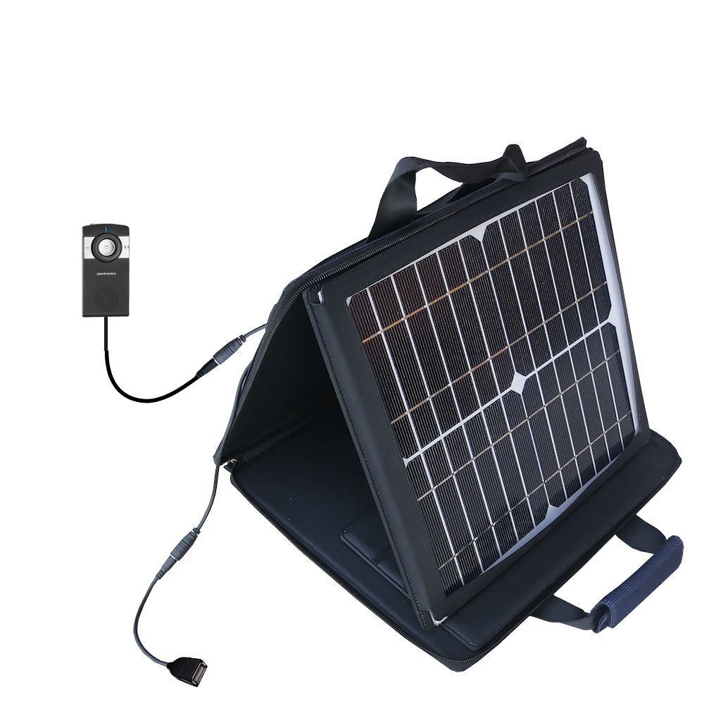 SunVolt Solar Charger compatible with the Plantronics K100 In-Car Speakerphone and one other device - charge from sun at wall outlet-like speed