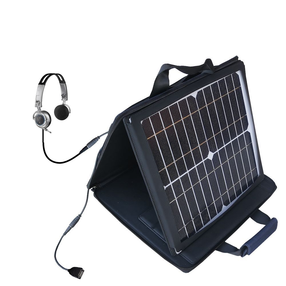 SunVolt Solar Charger compatible with the Plantronics Pulsar 590E and one other device - charge from sun at wall outlet-like speed