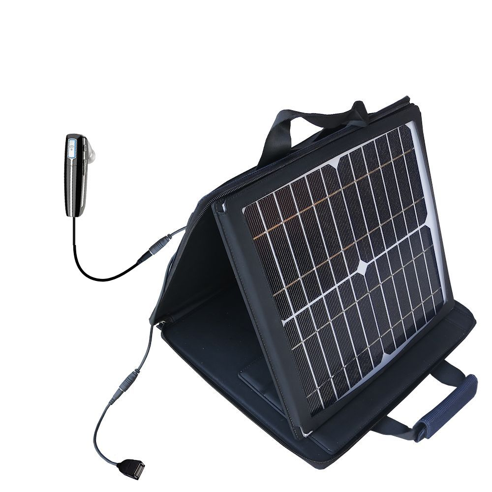 SunVolt Solar Charger compatible with the Plantronics Voyager 815 and one other device - charge from sun at wall outlet-like speed