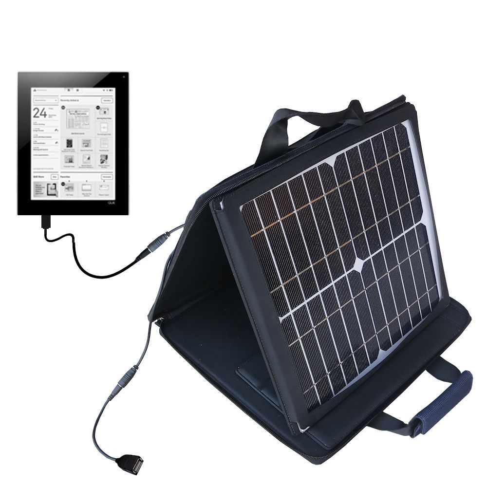 SunVolt Solar Charger compatible with the Plastic Logic Que ProReader and one other device - charge from sun at wall outlet-like speed