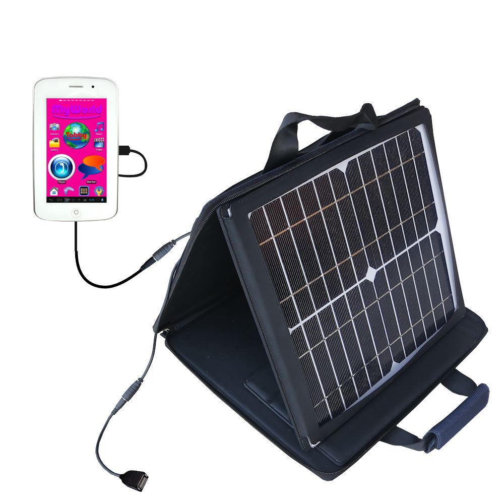 SunVolt Solar Charger compatible with the Playtime MyWorld 43111 and one other device - charge from sun at wall outlet-like speed
