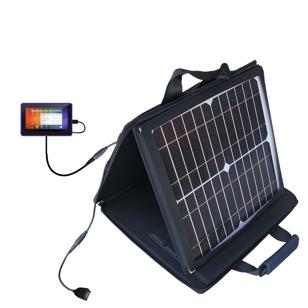 SunVolt Solar Charger compatible with the Playtime Tabby 7DU - 7 Inch and one other device - charge from sun at wall outlet-like speed