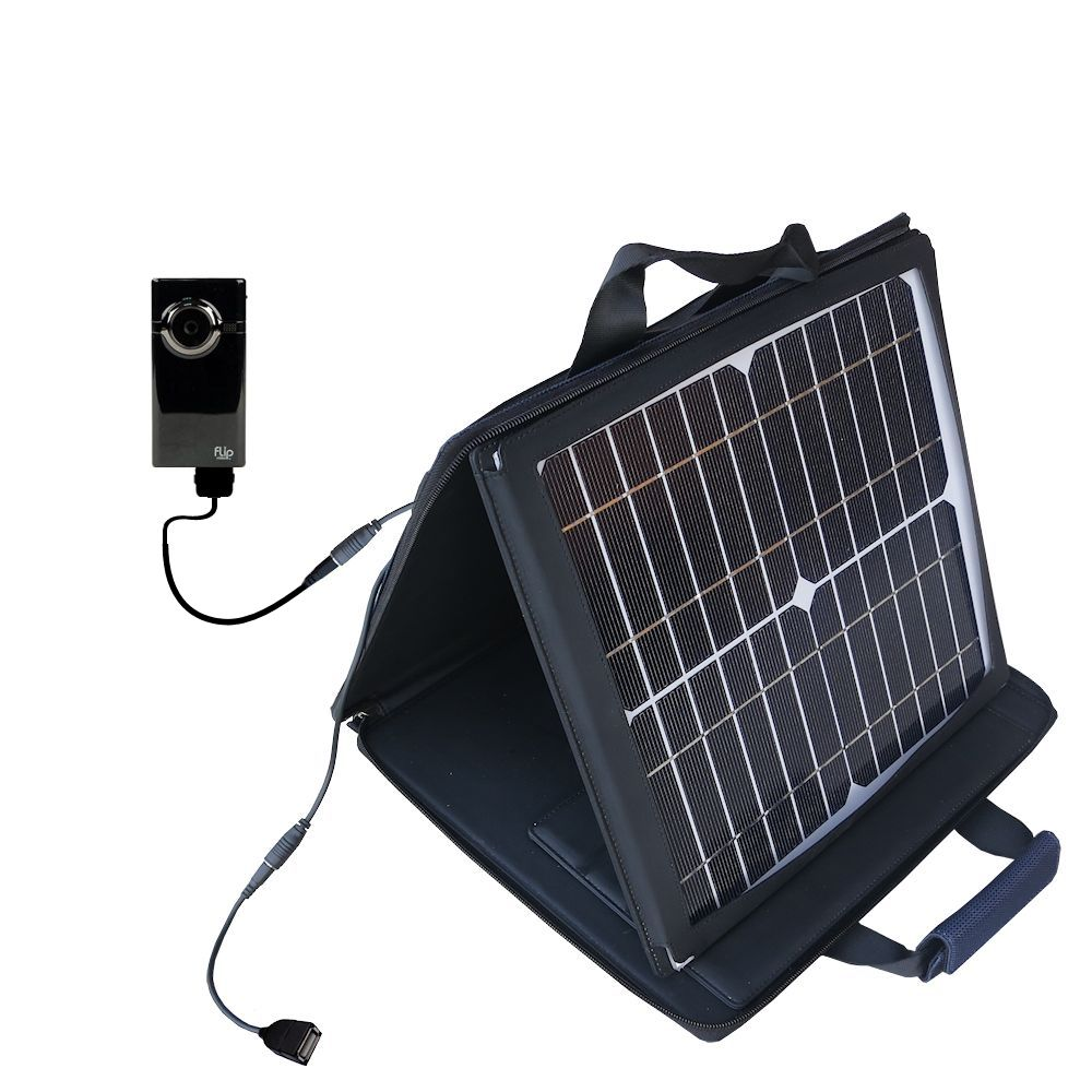 SunVolt Solar Charger compatible with the Pure Digital Flip Video MinoHD and one other device - charge from sun at wall outlet-like speed