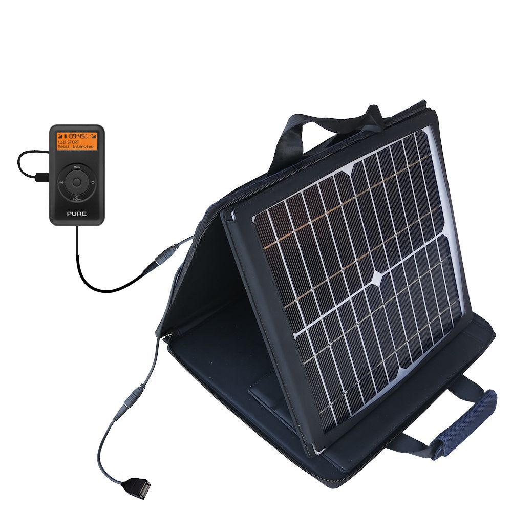 Gomadic SunVolt High Output Portable Solar Power Station designed for the PURE PocketDAB 1500 - Can charge multiple devices with outlet speeds
