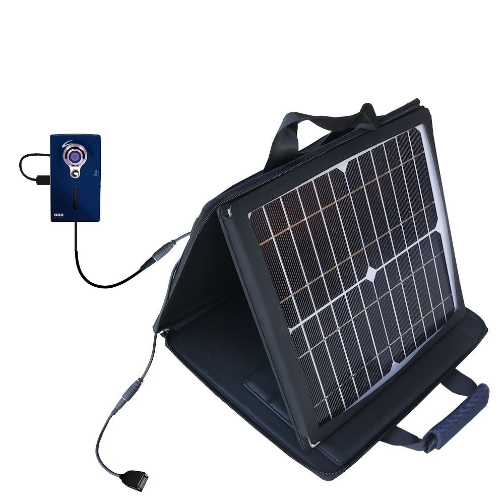 SunVolt Solar Charger compatible with the RCA EZ229HD Small Wonder Digital Camcorders and one other device - charge from sun at wall outlet-like speed