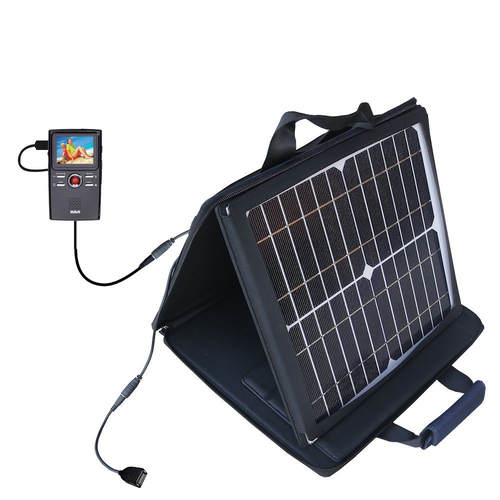 SunVolt Solar Charger compatible with the RCA EZ3000 Small Wonder HD Camcorder and one other device - charge from sun at wall outlet-like speed