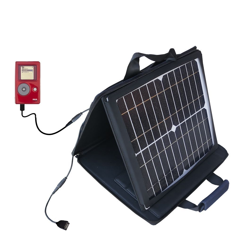 SunVolt Solar Charger compatible with the RCA Lyra Jukebox RD2762 and one other device - charge from sun at wall outlet-like speed