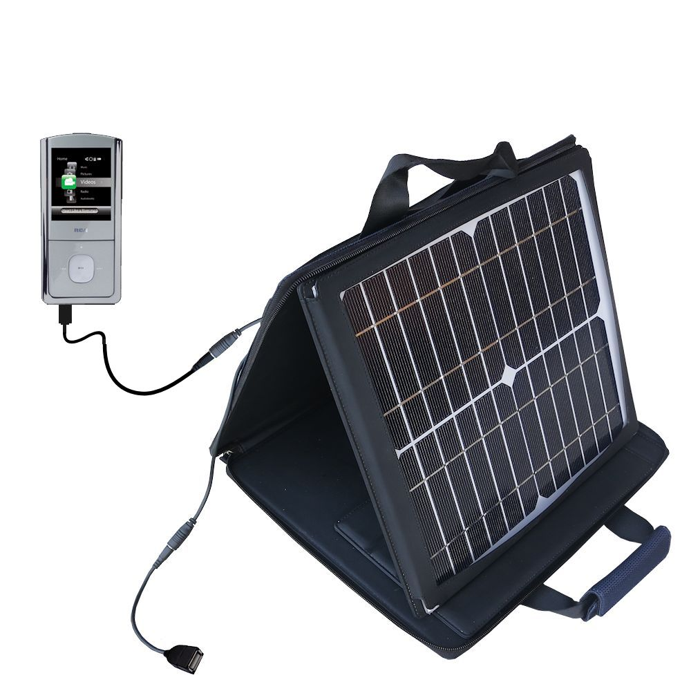 SunVolt Solar Charger compatible with the RCA M4304 Opal Digital Media Player and one other device - charge from sun at wall outlet-like speed