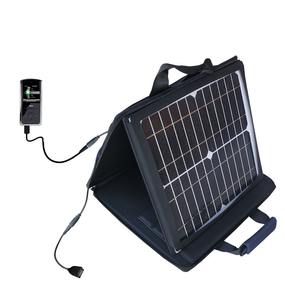 SunVolt Solar Charger compatible with the RCA M4308 Digital Music Player and one other device - charge from sun at wall outlet-like speed