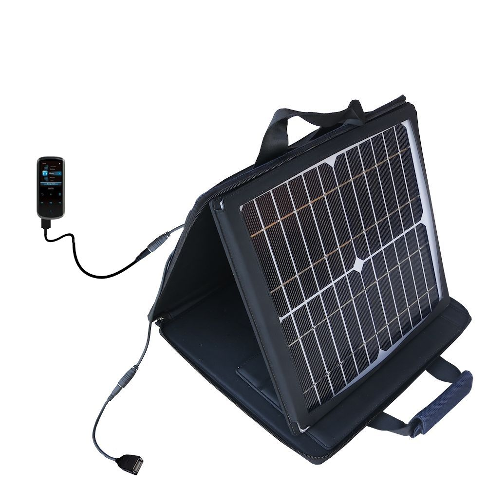 SunVolt Solar Charger compatible with the RCA M4508 Lyra Digital Media Player and one other device - charge from sun at wall outlet-like speed