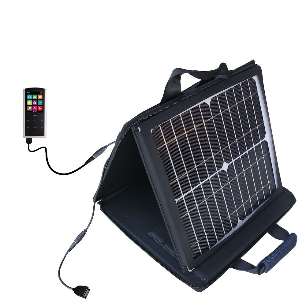SunVolt Solar Charger compatible with the RCA M4808 Lyra Digital Media Player and one other device - charge from sun at wall outlet-like speed