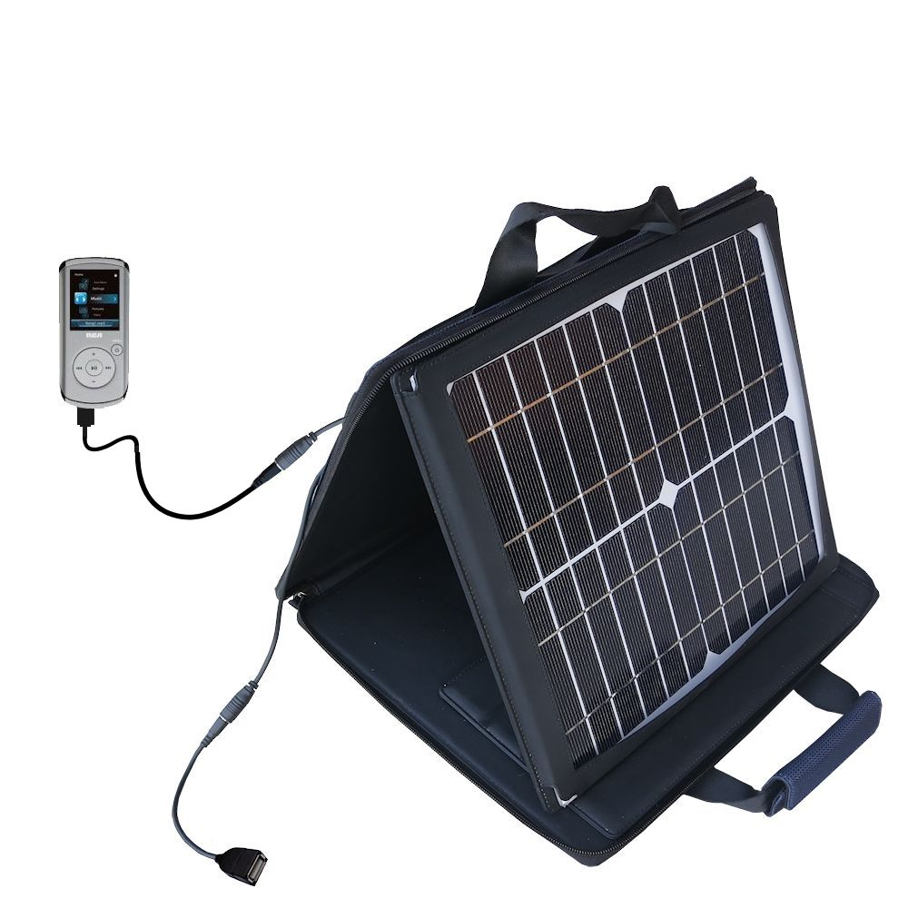 SunVolt Solar Charger compatible with the RCA MC4102 MC4104 MC4108 Digital and one other device - charge from sun at wall outlet-like speed